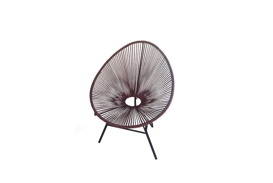 """From Roost, an Ellipse Acapulco Chair """"updates a vintage classic: with cotton cord and a dark iron base. It is available in three colors (Shown L to R: Indigo, Chocolate, and Natural) and is $300 from Modish."""