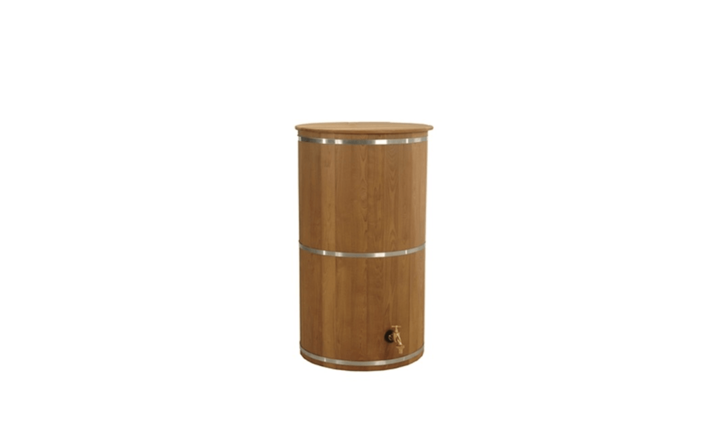 A 67-gallon Wooden Rain Barrel made of dried spruce wood has a brass tap and is $4 at Eco-Outfitter.