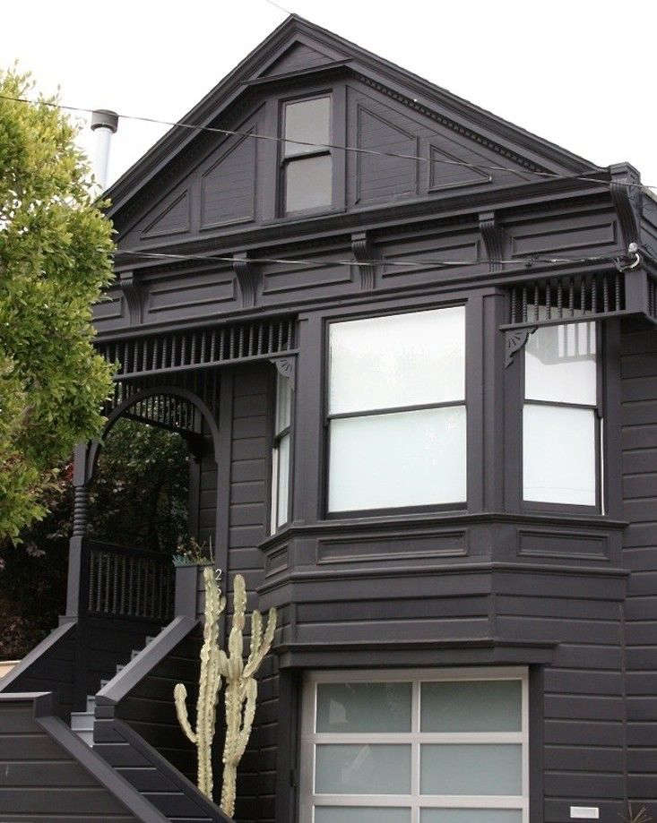 gray siding black windows white trim