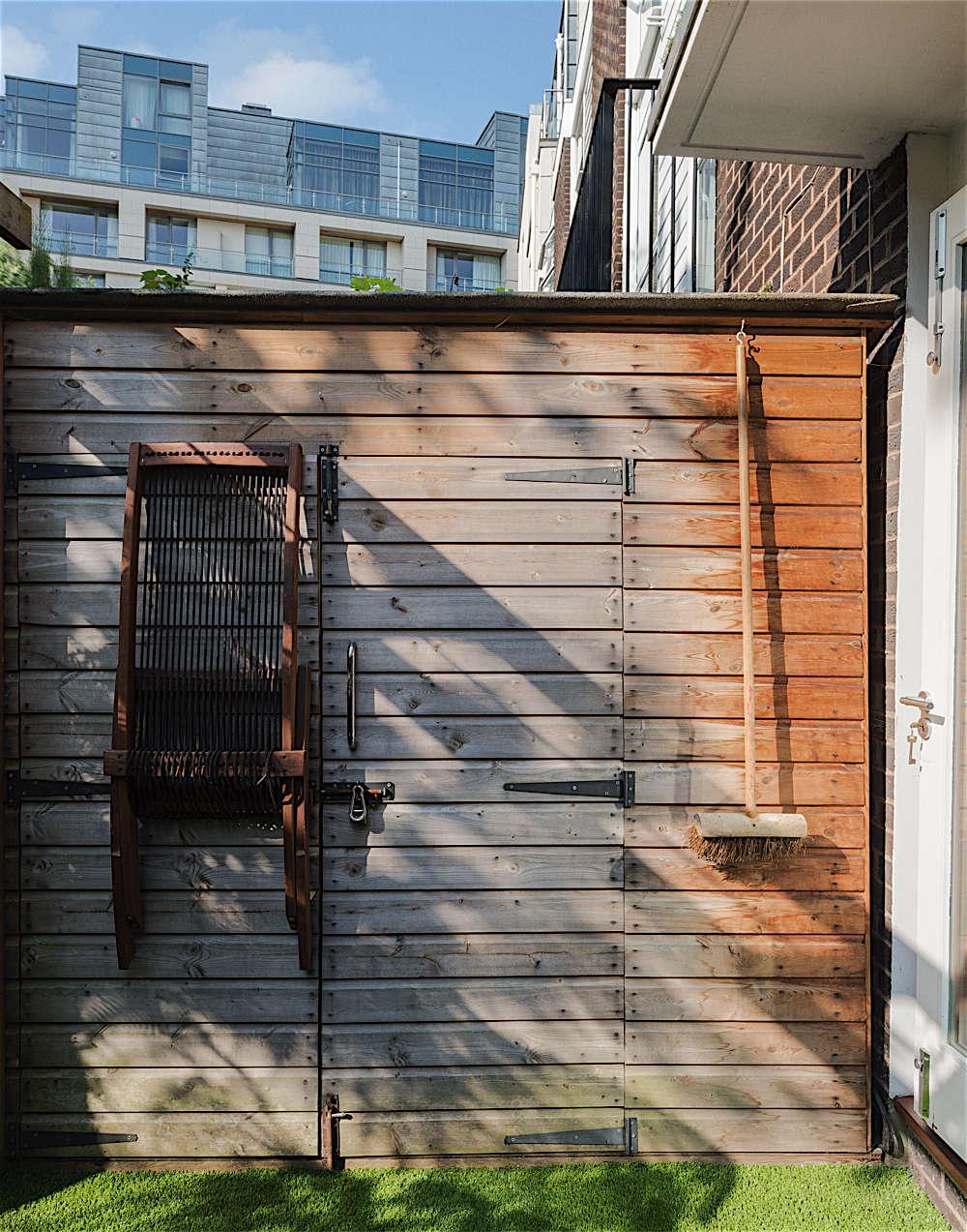 Christine Chang Hanway, London garden, Garden as exterior room, artificial grass, outdoor seating, garden shed, Matthew Williams | Gardenista