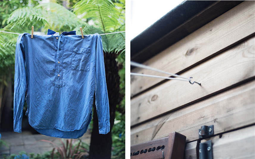 Christine Chang Hanway, London garden, Garden as exterior room, blue shirt hanging on clothes line which attaches to garden shed, Matthew Williams | Gardenista