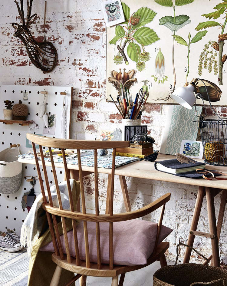 We Admire The Way Stylist Alaina Banks Transformed A Workspace Into Year Round Garden With Table From UK Based Designers Feist Forest And Botanical Art