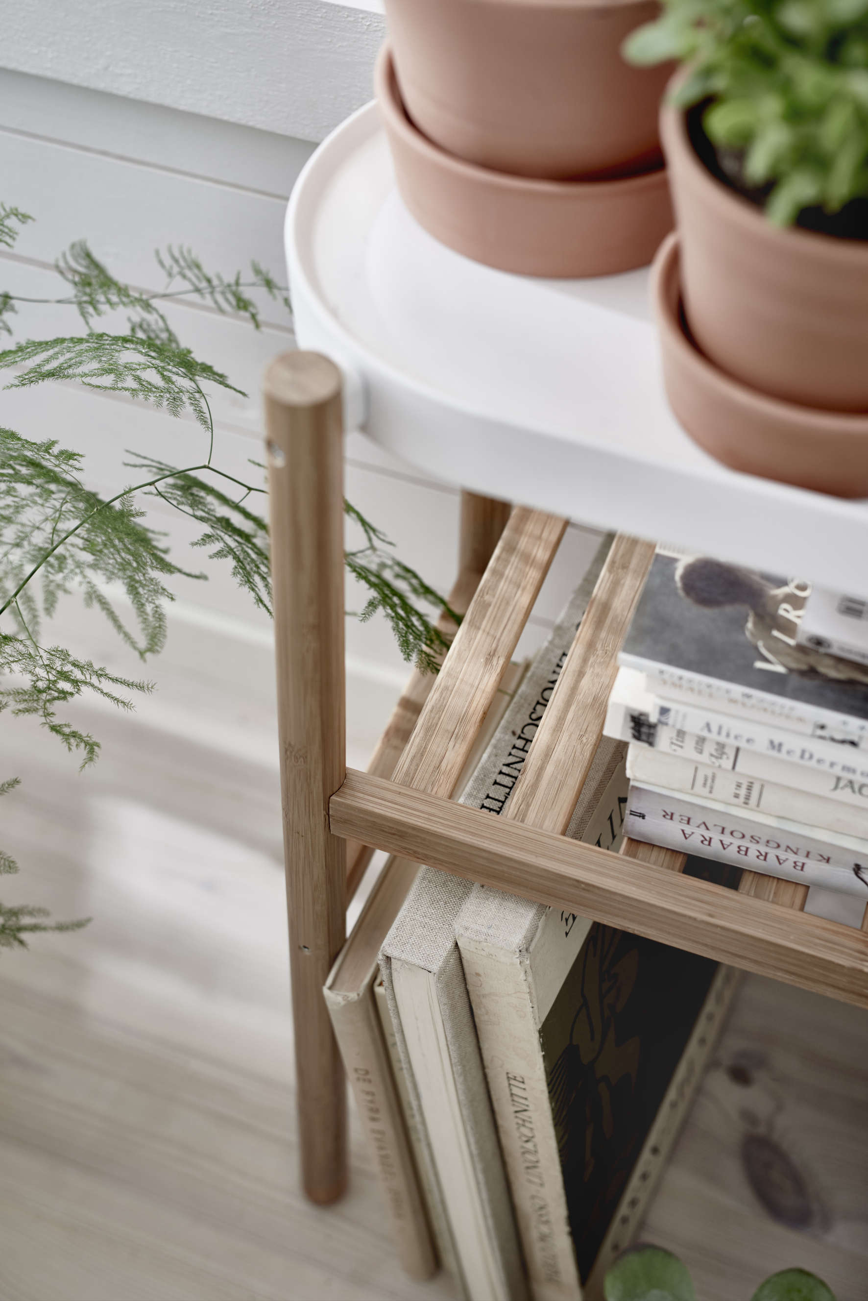 Above: A Satsumas Pedestal Plant Table With A Lacquered Bamboo Frame And A  Powder Coated Steel Plant Shelf Is 449 SEK (approx. $52.62 US) At Ikea  Stores In ...