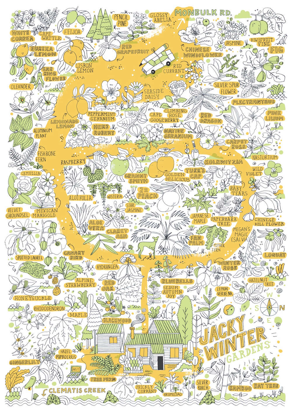 A whimsical map of the gardens by illustrator James Gulliver Hancock; aposter-size map is given to every overnight visitor.