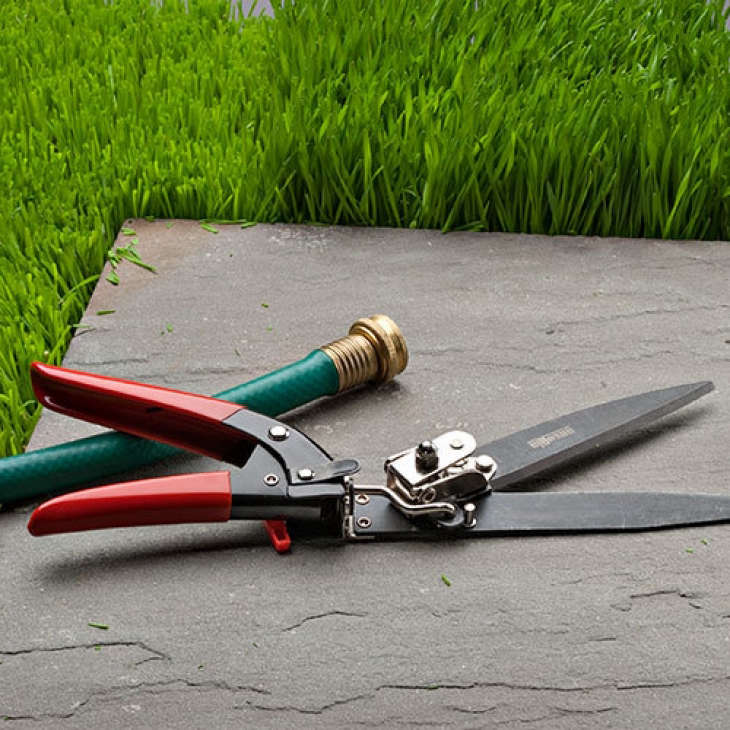 """With a handle that rotates 90 degrees, a pair of Grass Trim-Shearsmade in Italy can cut """"grass growing right up to the edges"""" of a path or driveway; $24.30 from Garrett Wade."""