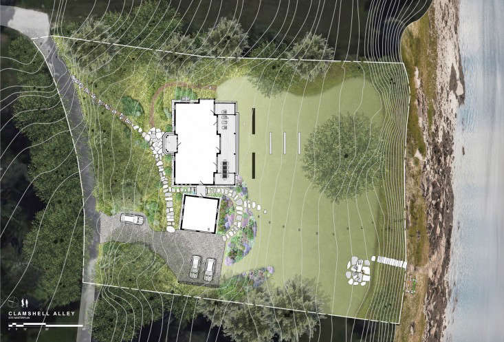A site plan for a landscape designed by landscape architect Matthew Cunningham. See the garden at Landscape Architect Visit: Clamshell Alley on the Coast of Maine.