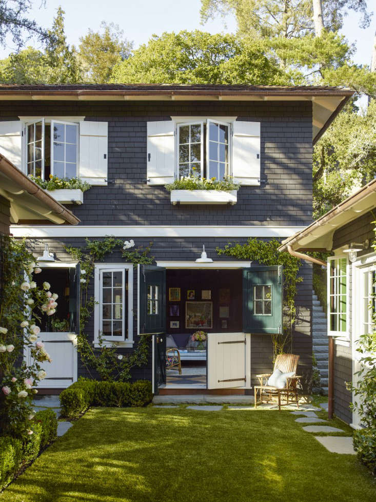 Dutch doors and barn-inspired shutters strike a farmhouse chord at a summer-camp turned family home in Mill Valley, California. See more inGarden Visit: Landscaping a Live-In Summer Camp. Photograph by Eric Piasecki, courtesy of OTTO.