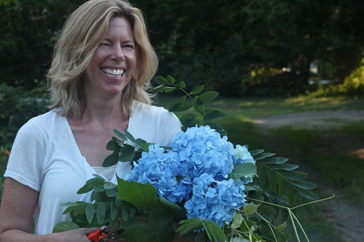 me-with-my-foragings-hydrangeas-gardenista