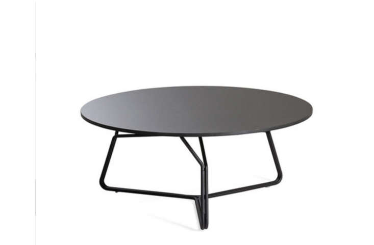 Pedestal Black Metal Round Outdoor Coffee Table Gardenista