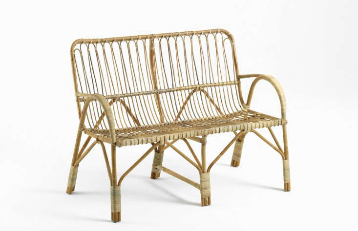 A Liggestolen two-seater rattan sofa designed by a Danish cane maker is 83 centimeters long (about 32.7 inches) and is €563 from Liggestolen.