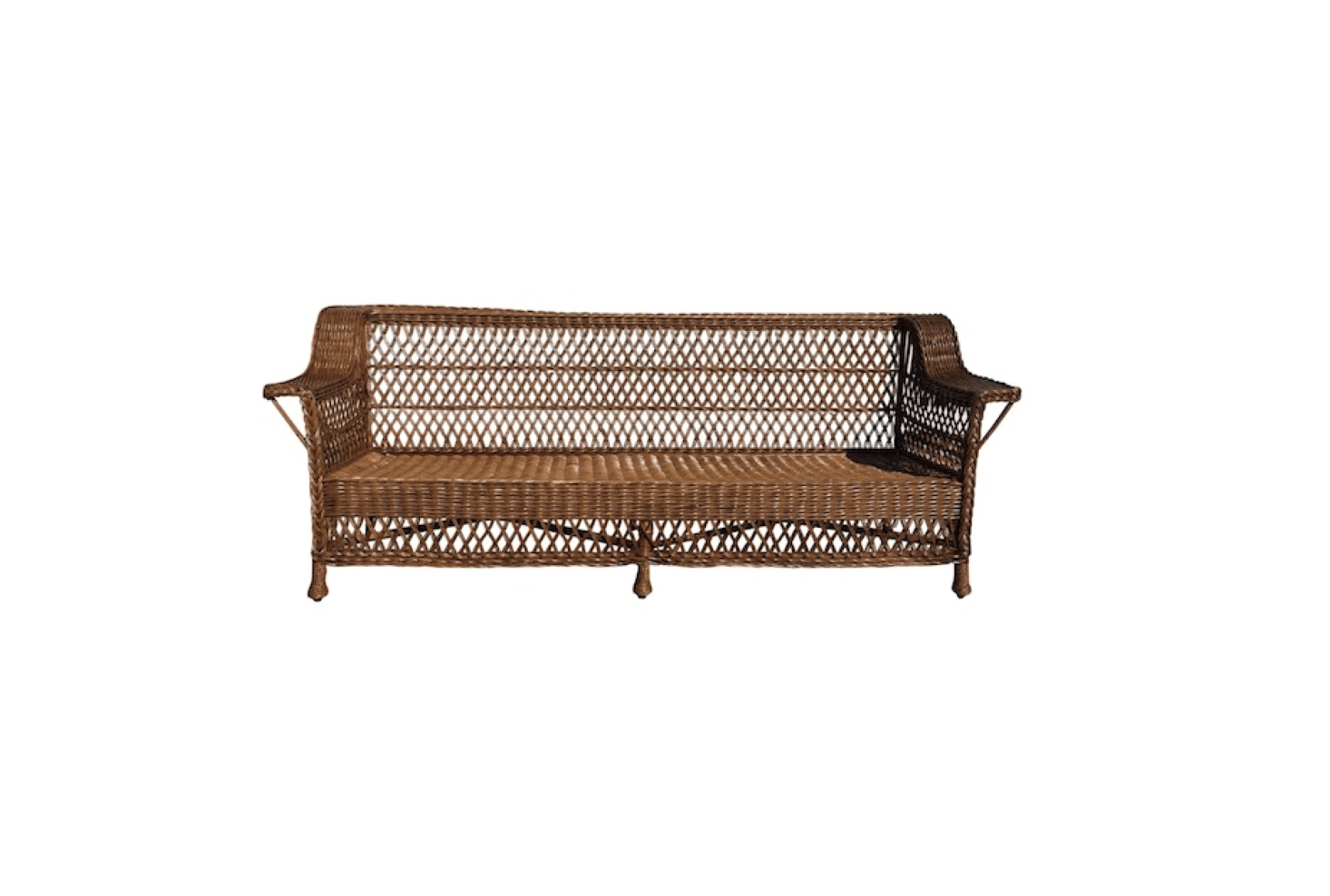 A one-of-a-kind Antique Bar Harbor Wicker Sofa is 85 inches long and is $7,500 from 1st Dibs.