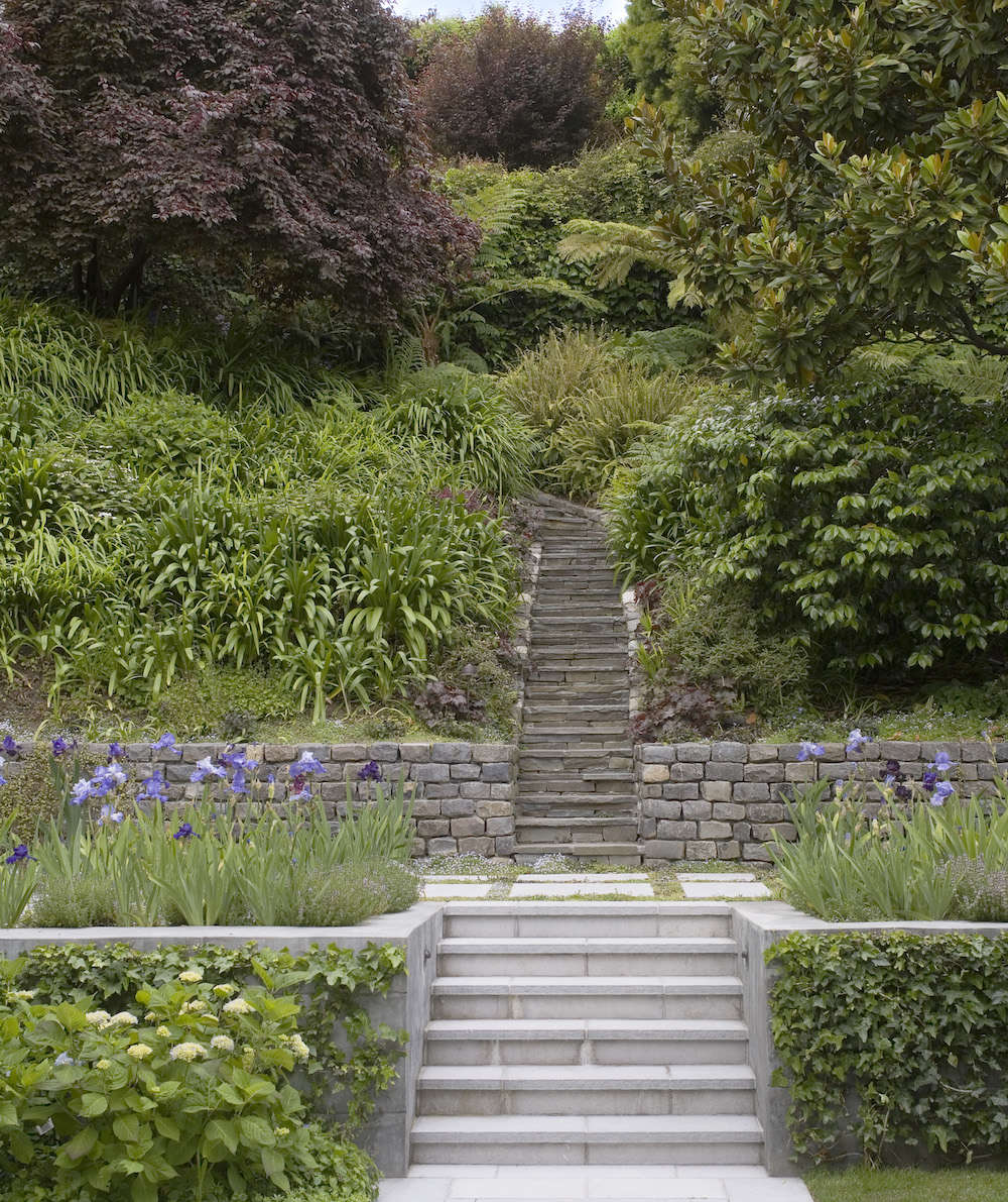 Above In A San Francisco City Garden Two Tiered Stone Staircase Ascends 25 Foot Hill That Rewards Climbers With Striking Views