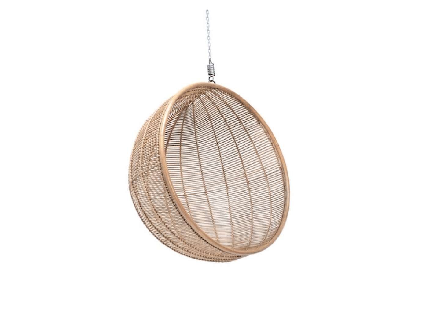 A Natural Hanging Rattan Bowl Chair Is £540 From Out There Interiors.