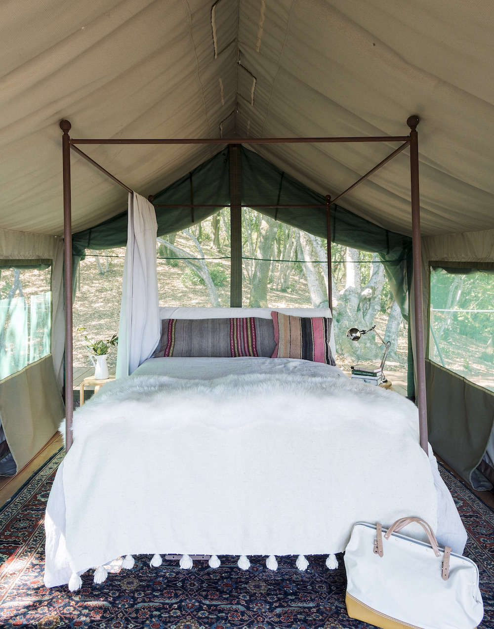 White and Wood Outdoor Gl&ing Bed in Tent & Gardenista Book Sneak Peek: Glamping in Napa - Gardenista