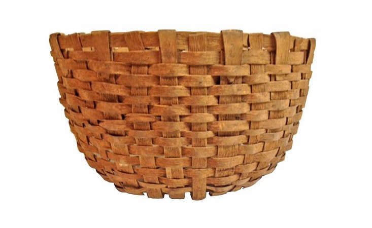 one of a kind handwoven wood harvest basket
