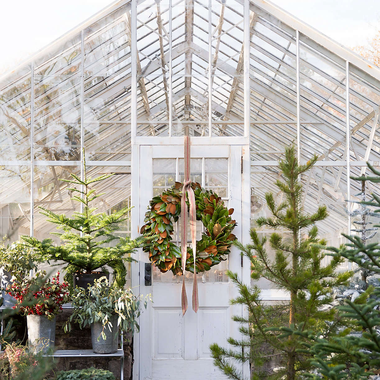 fresh-magnolia-wreath-on-outdoor-greenhouse-from-terrain