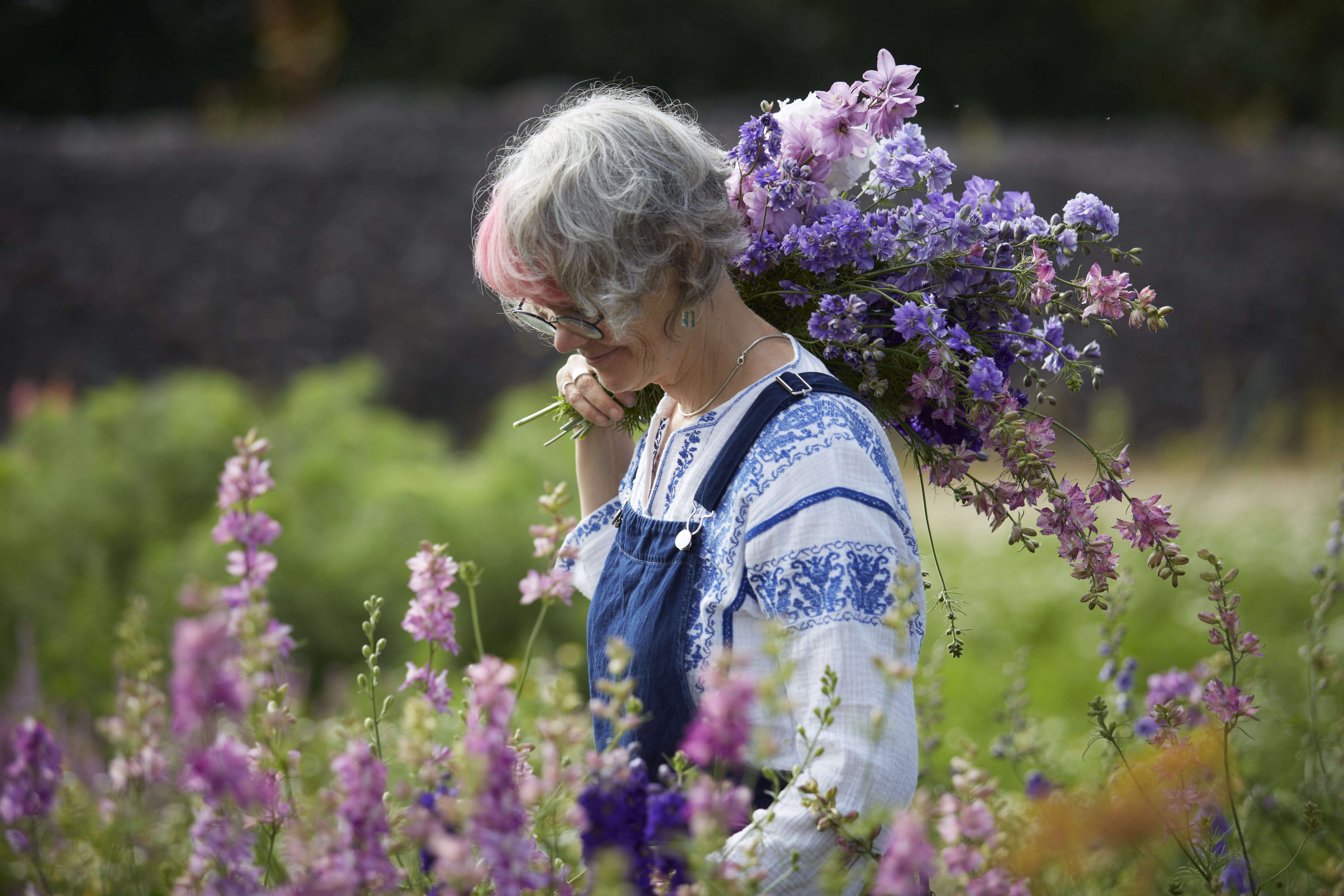Studio visit electric daisy flower farm gardenista above a flower field is crammed with a bright palette which transforms through the seasons here fiona gathers long stems of larkspur and sidalcea izmirmasajfo