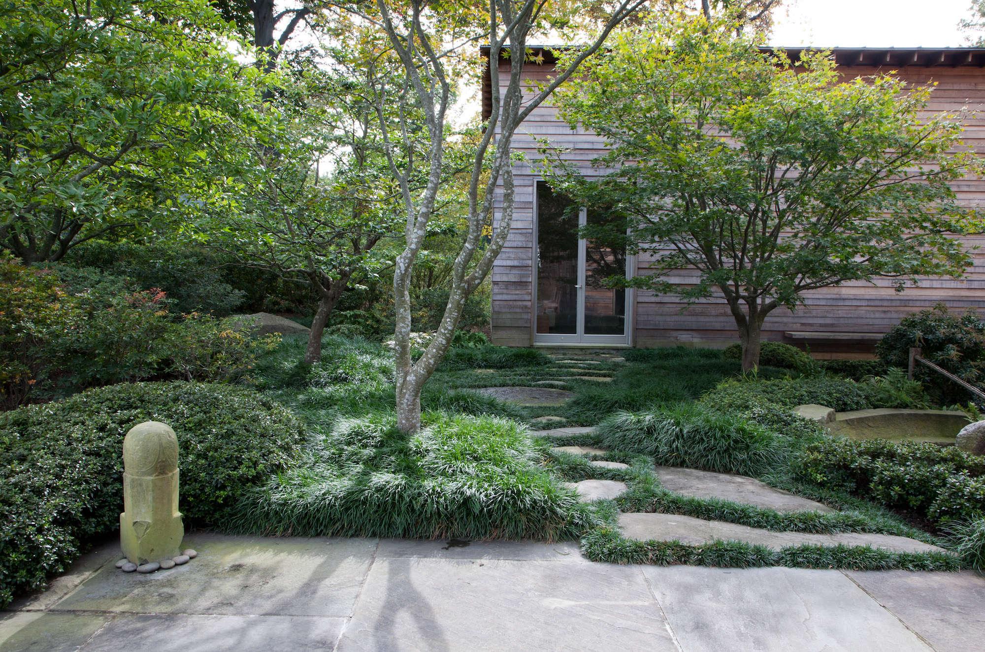 Japanese Style Garden Irvington Mondo Grasses Sculpture