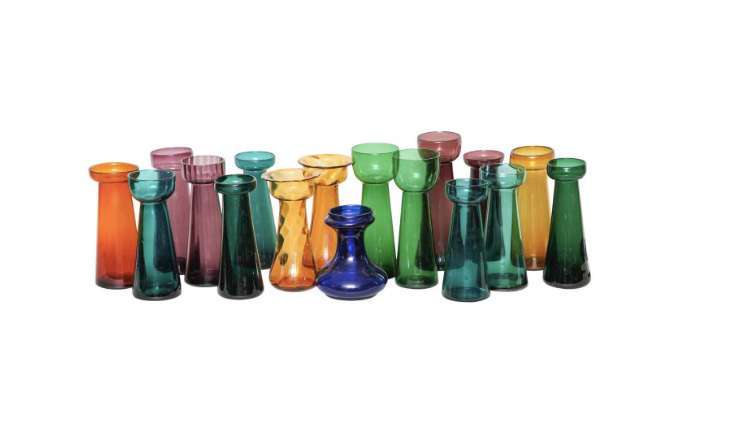 colored vintage glass forcing bulb vases - Colored Glass Vases