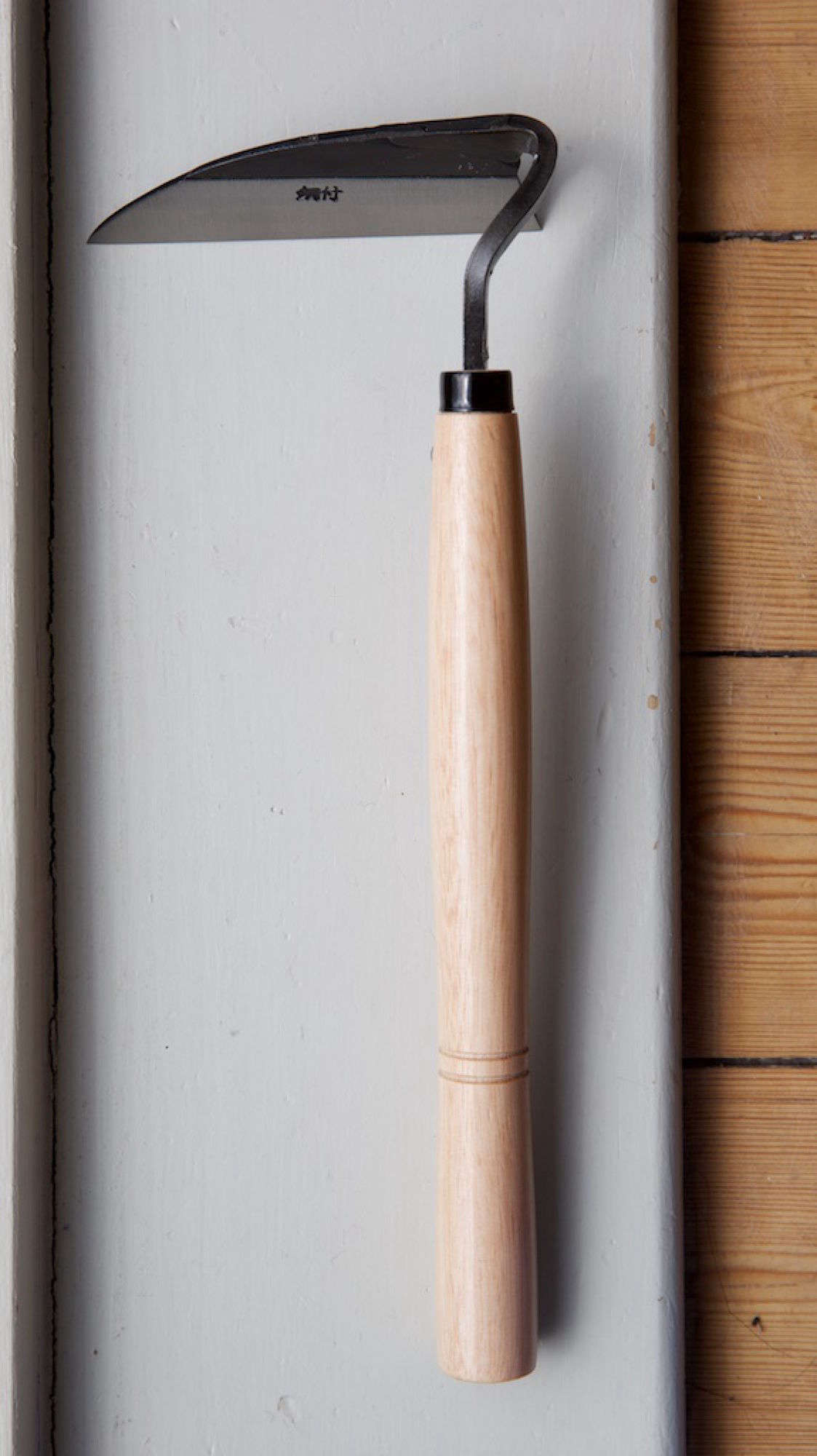 From Japan, A 13 Inch Long Weeding Hoe Has A Pine Handle And