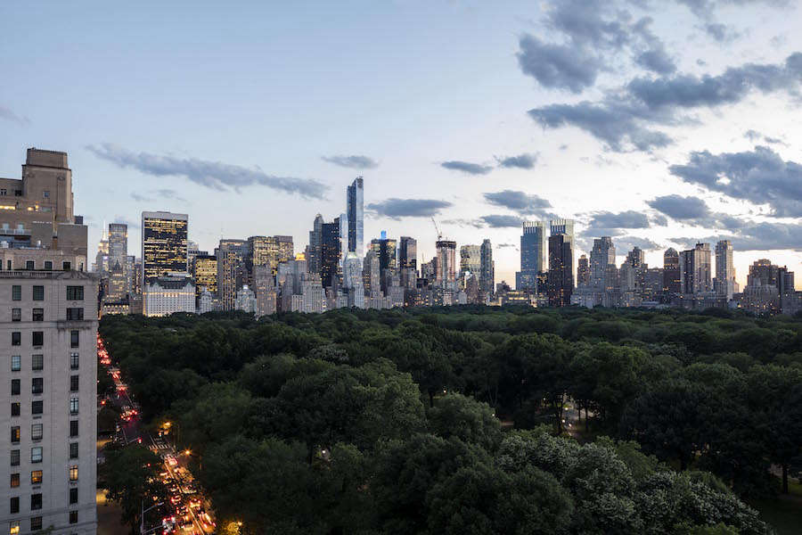 New York City seems to stand at attention in this twilight view.