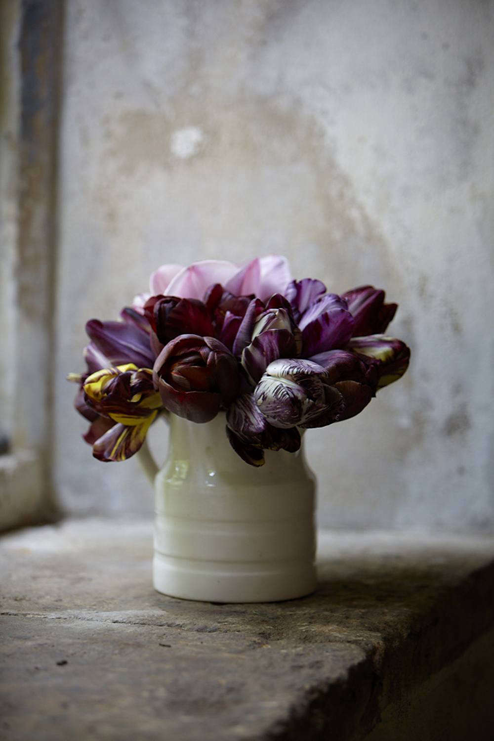 """A simple jug of """"leftover"""" tulips."""