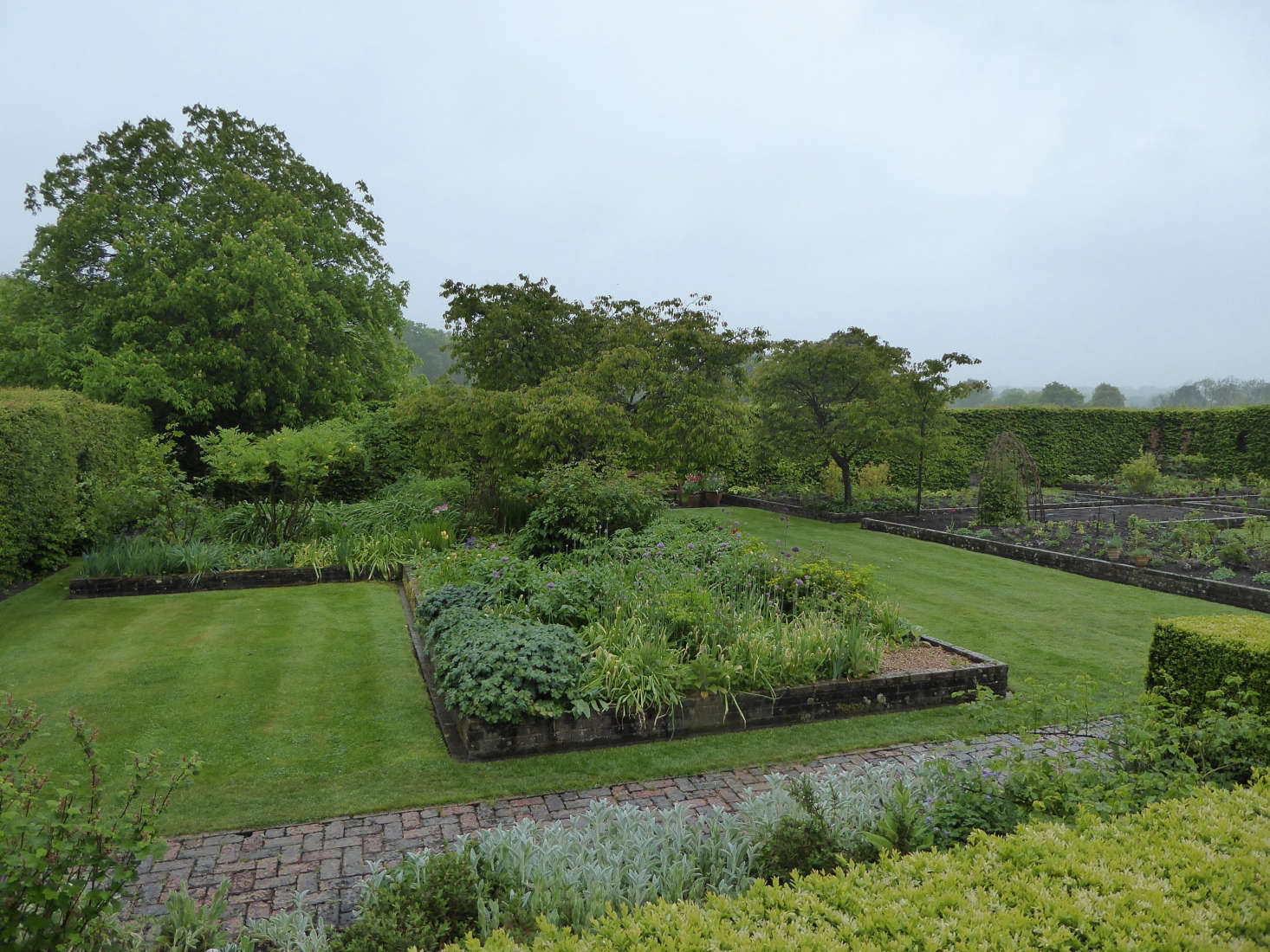 The vast brick raised beds in the Dutch Garden, which is thought to have been designed by Edwin Lutyens, who was having an affair with Vita's mother.