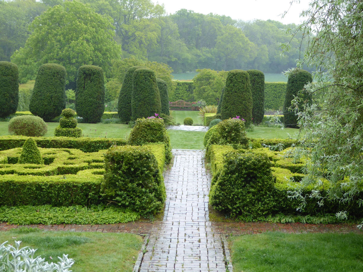 A north-to-south path cuts right across the garden.