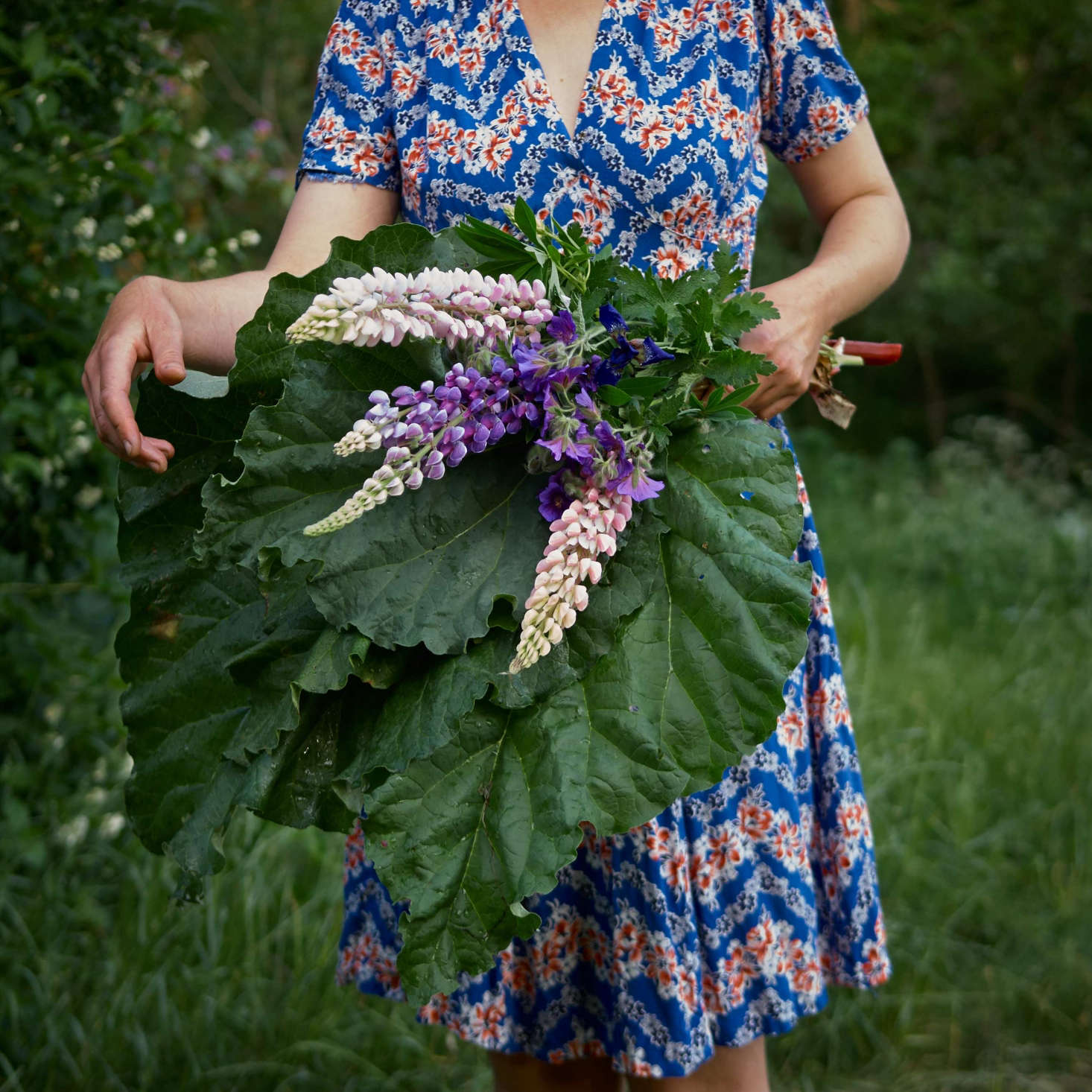 #onebouquetperday with blue geranium, lupine, and iris, plus ingredients for a rhubarb pie to share with neighbors.