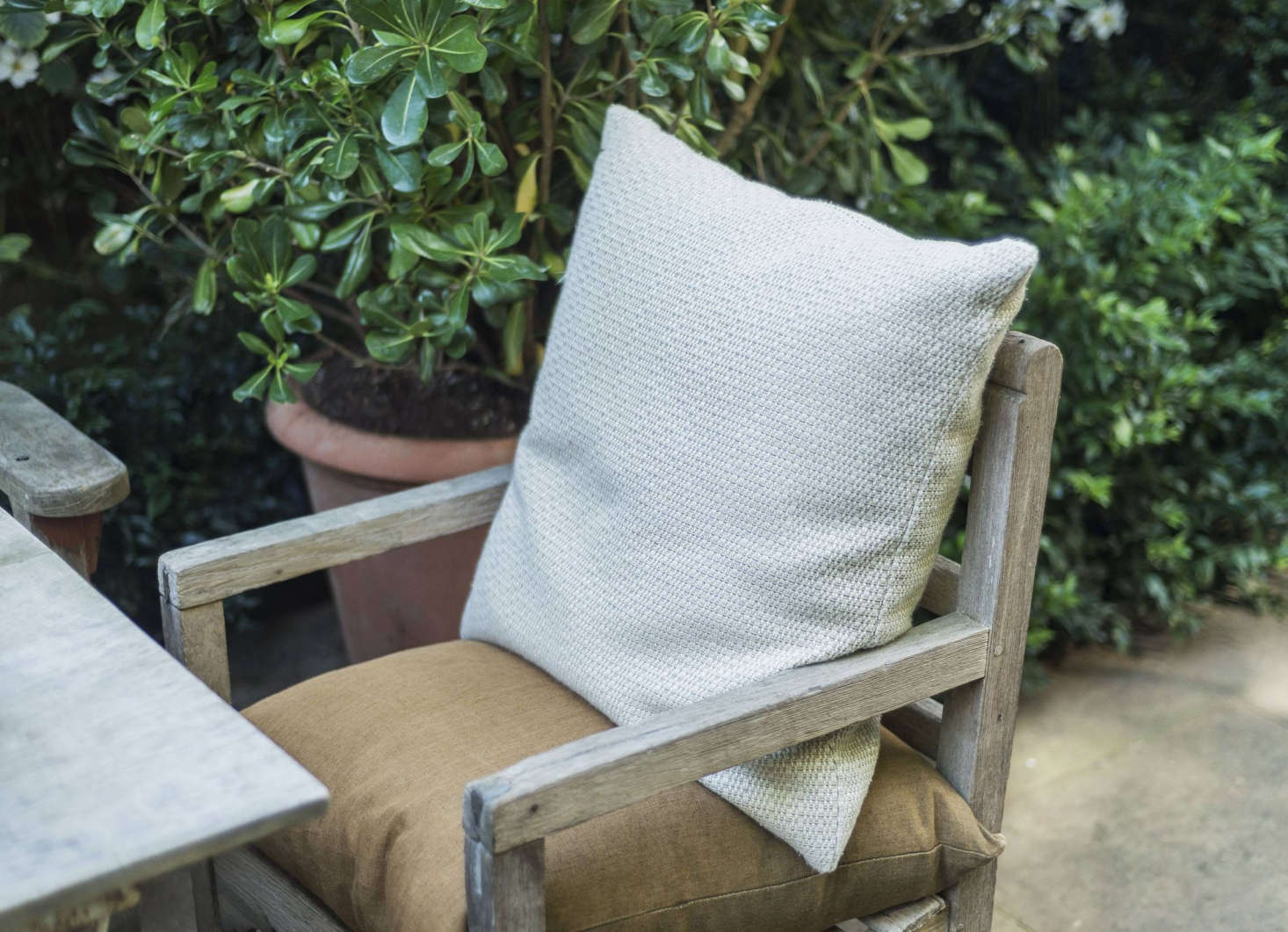 Weathered teak chairs and benches have cushions for extra comfort.