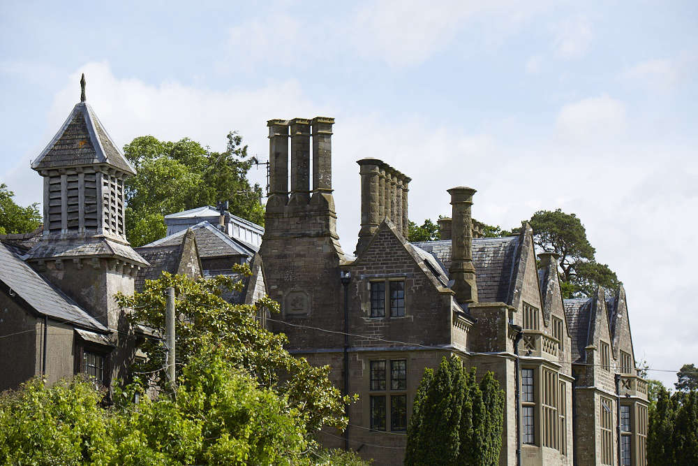 The oldest parts of the house date to the 1600s and the imposing Victorian gothic façade was added in 1850.