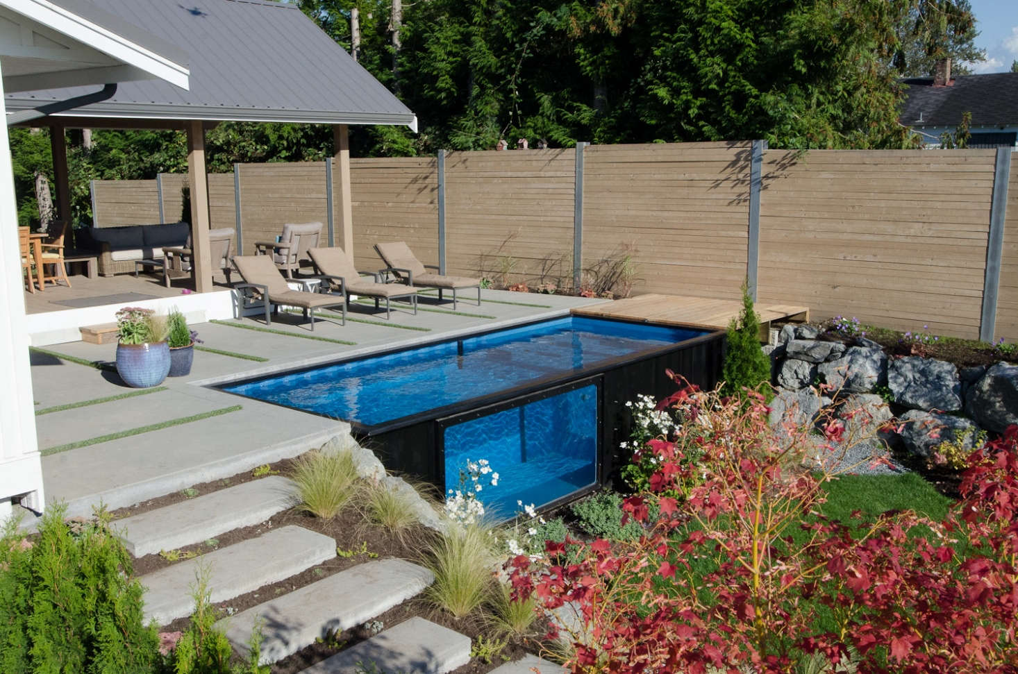 It takes from six to eightweeks to build each Modpool at the factory in Abbotsford. After delivery, if the ground prep is all done, the pool can be up and running in minutes.
