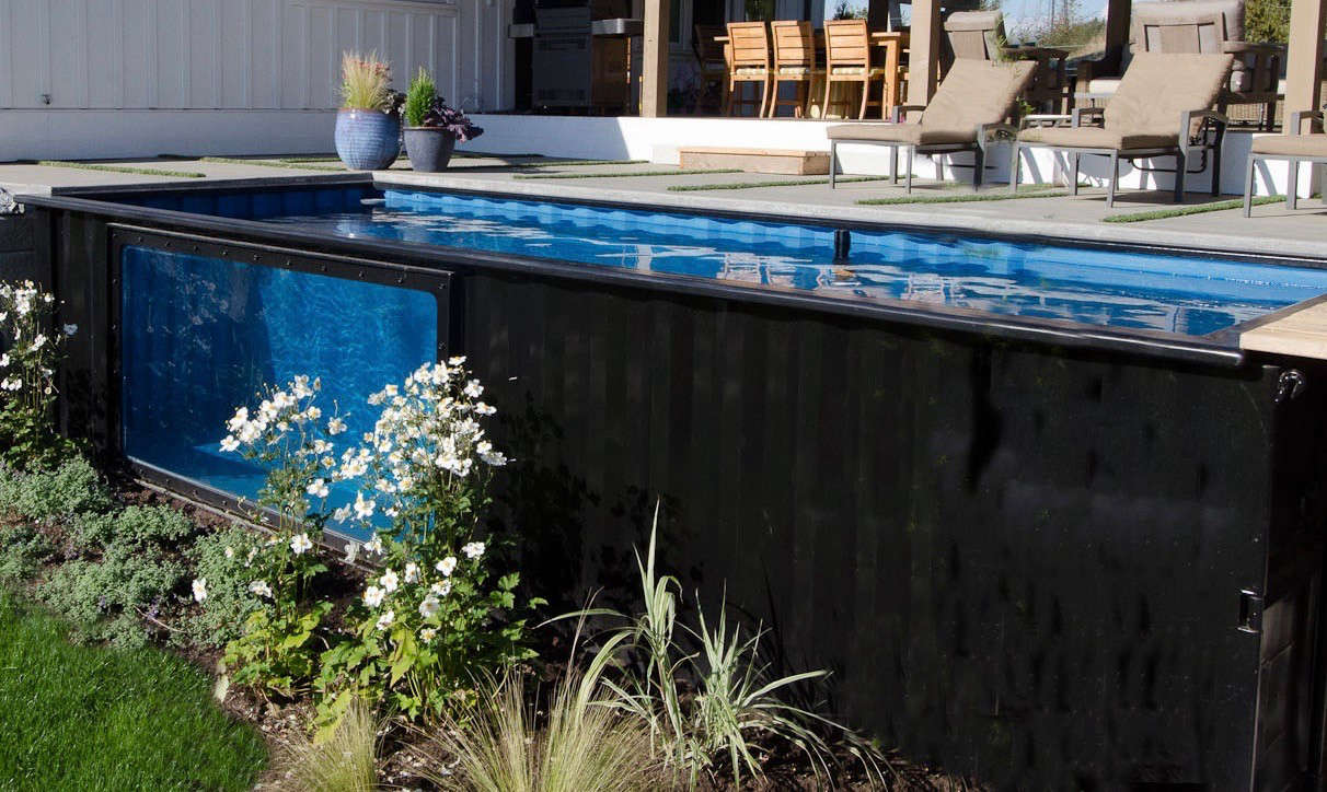 """The Modpool prototype at the Ranthams' home in Abbotsford, not far from Vancouver, has been thoroughly tested by their three children. """"Sometimes,"""" says Paul, """"the kids will be playing in the pool while I relax in the hot tub."""""""