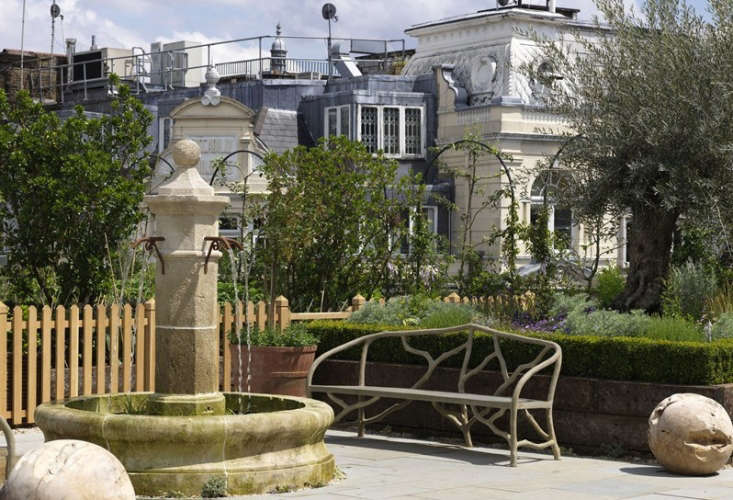 Ham Yard Hotel London roof garden fountain