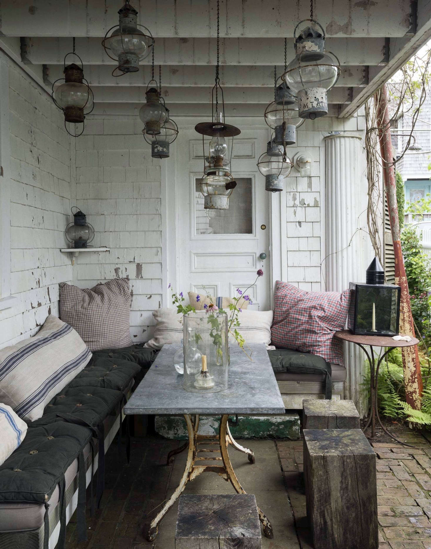 A Covered Brick Patio Serves As An Outdoor Dining Area At Designer John Derians Provincetown
