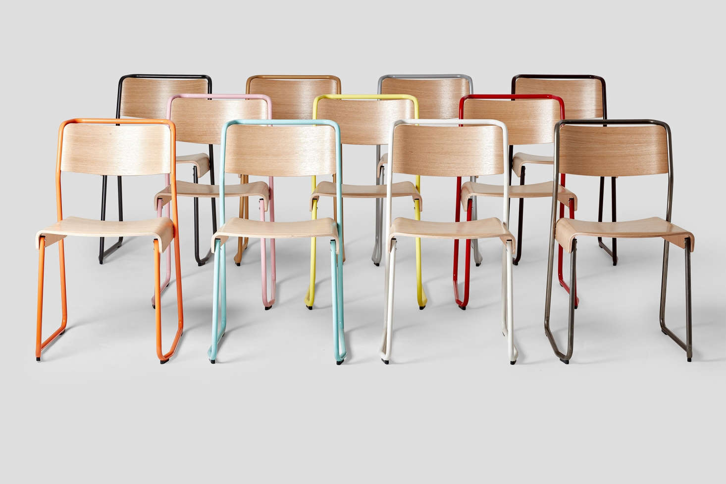 Annie says Vintage-Style School Chairs Are Having a Moment, and these Canteen Utility Chairs from Very Good and Proper are great options.