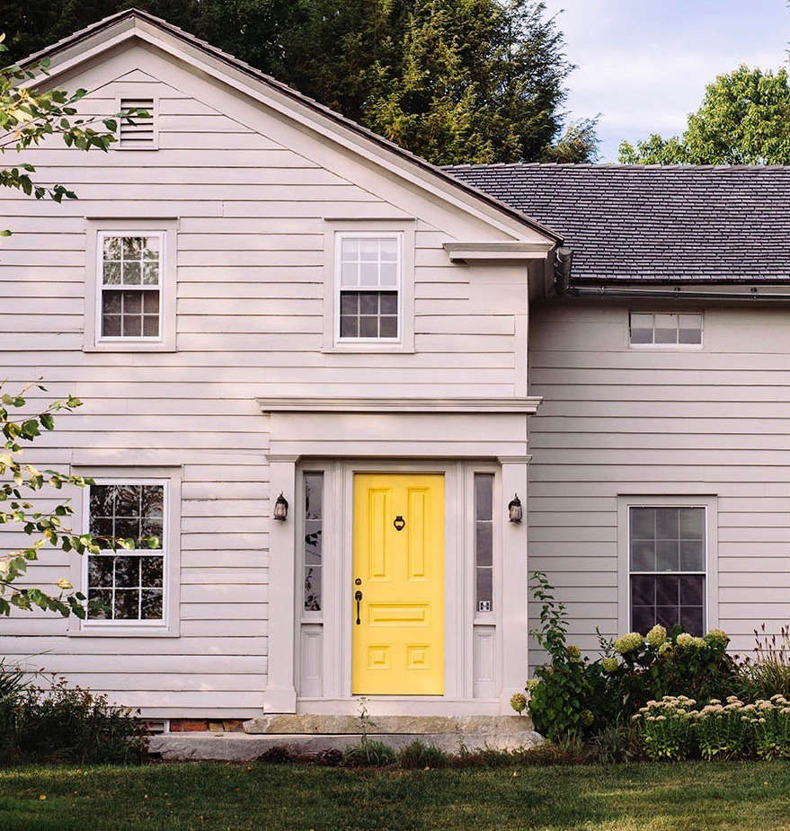 The front door paint color is Van Gogh Yellow by Fine Paints of Europe.&#8