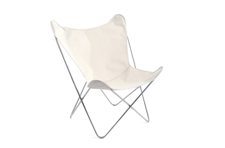 A classic design that looks as comfortable indoors as out (bring it inside for extra seating in winter months), a Butterfly Chair with a stainless steel frame and white canvas cover is $350 from Circa 50.