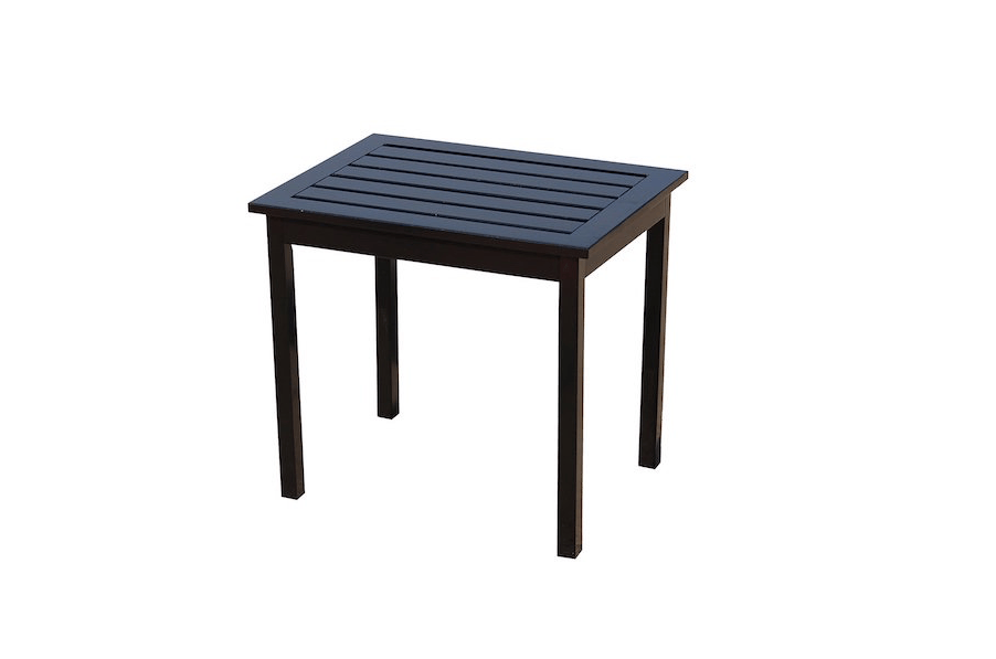 With a slatted top that dries quickly, a Hardwood Side End Table from Southern Enterprises measures 15 by 20 by 18 inches and is available in black as shown or white; from $50.29 to $57.89 depending on color from Amazon.