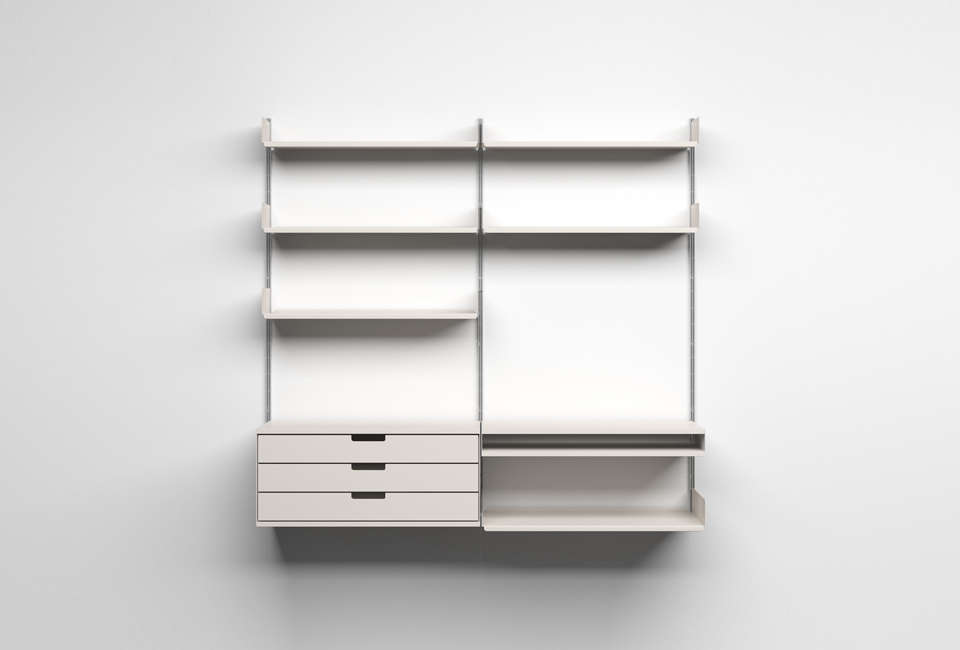 10 easy pieces wall mounted shelving systems gardenista - Wall mounted shelving ideas ...