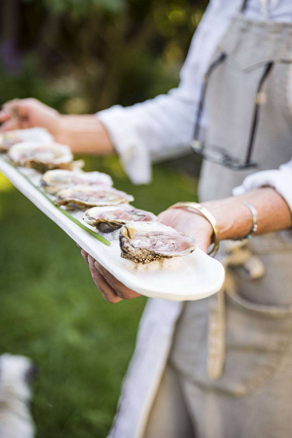 """I serve oysters regularly, mostly because shellfishing is the largest agricultural endeavor in Connecticut, so they are very farm-to-table,"" says Phoebe. ""I switch up the mignonette to reflect what's in season; recently I made it with pickled lovage stems—so good."""