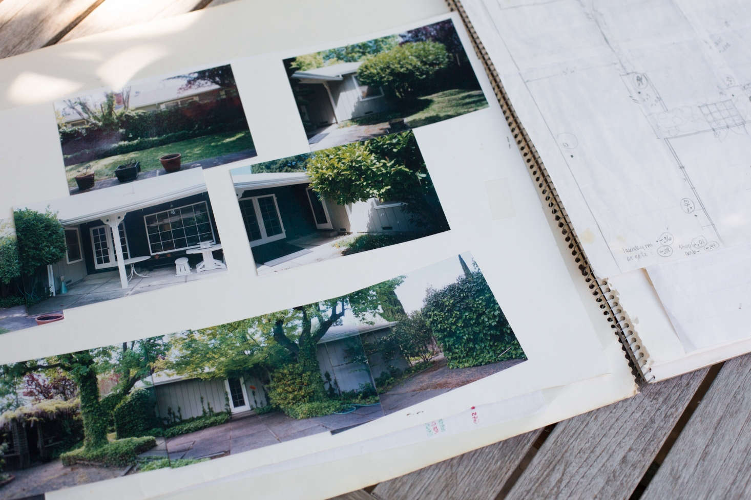 A scrapbook documents the before-and-after transformation, including a snapshot (at bottom) that shows the original back facade in its windowless incarnation. Clay liberated a pair of liquidambar trees from the ivy shrouds that were growing up their trunks.