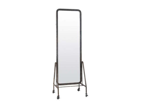 Black Inclined Free Standing Floor Mirror On Wheels