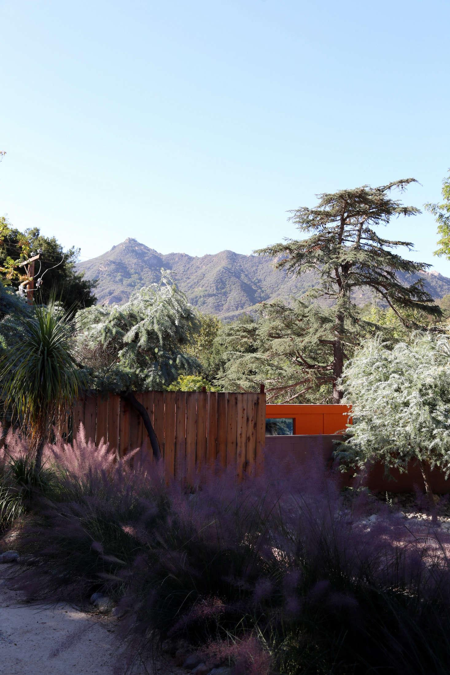 花园里的一个小镇的圣诞老人可以找到风景。篱笆被绑在拉比伍德的红木。