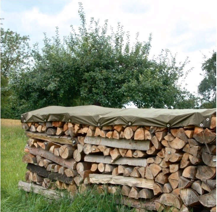 An example of how you might keep a woodpile dry