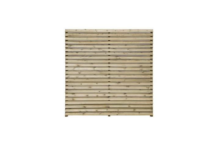 Painted black, horizontal fence privacy panels are tall enough to provide a neutral backdrop to the garden. For similar, a five-pack of Grange Contemporary Slatted Fence Panels is £470 from DIY.