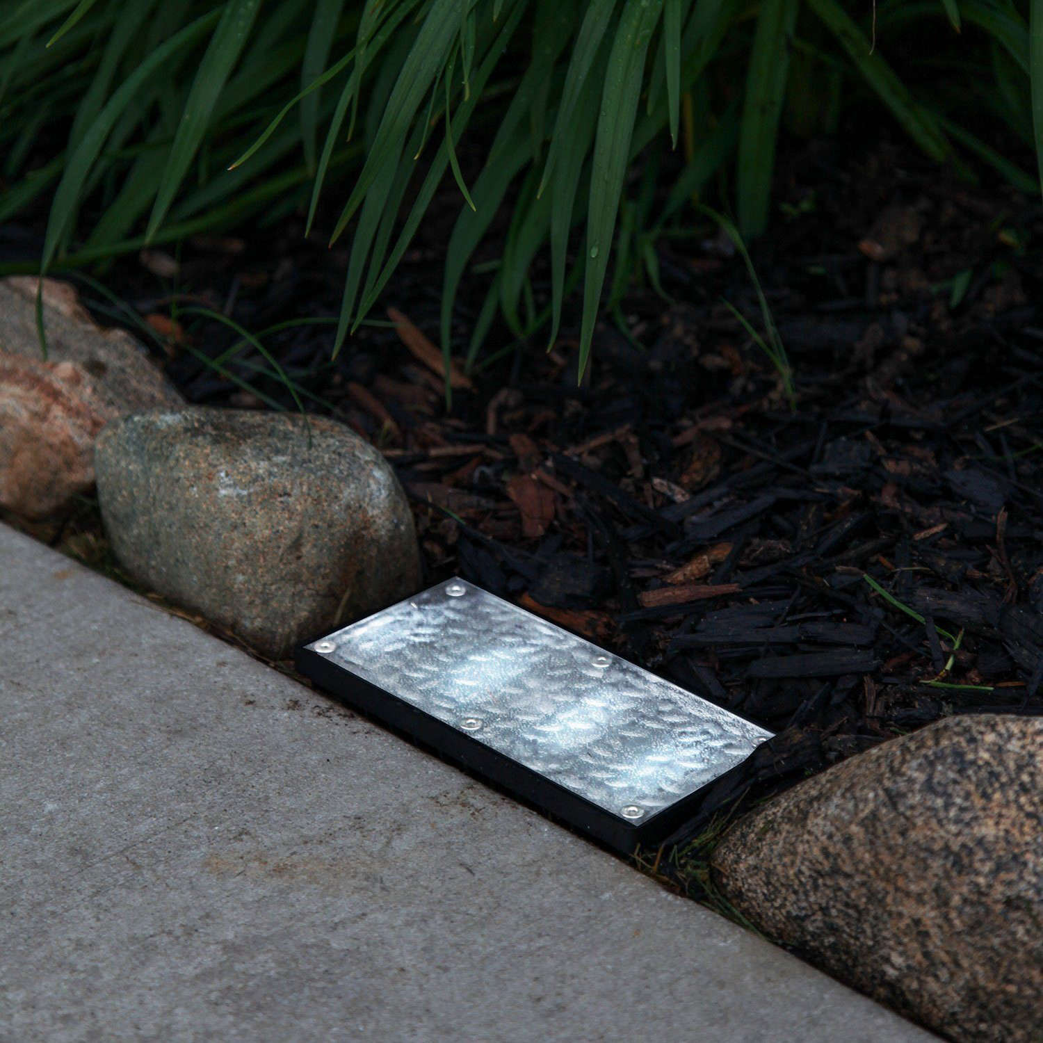 Driveway Lights Guide Outdoor Lighting Ideas Tips: Recessed Rectangular Cool White Polyresin Solar Landscape