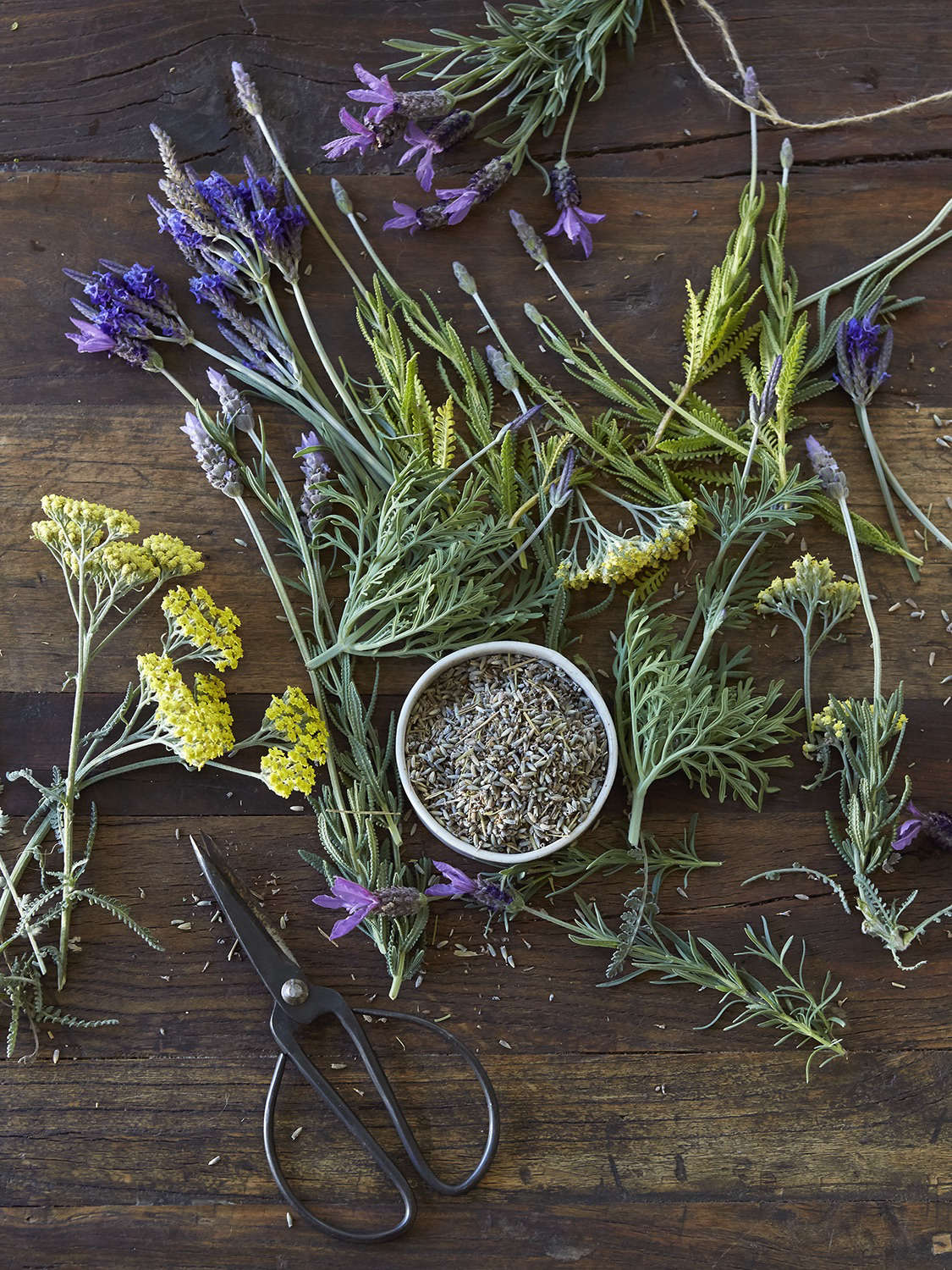Depending on the species, lavender flowers come in shades of blue, purple, pink, or white. If you want, also buy dried lavender flowers (which are very fragrant) and tie a little sachet to each lavender bundle.