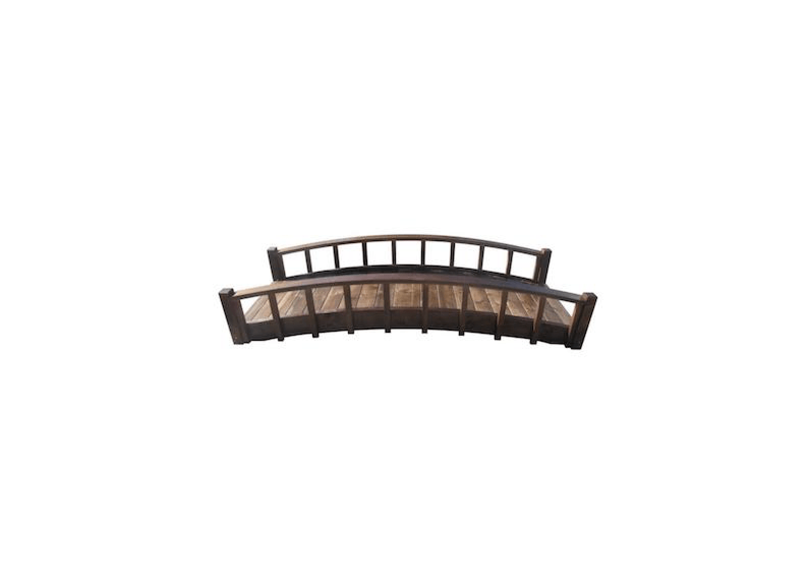 8 Ft Japanese Wood Garden Moon Bridge With Arched