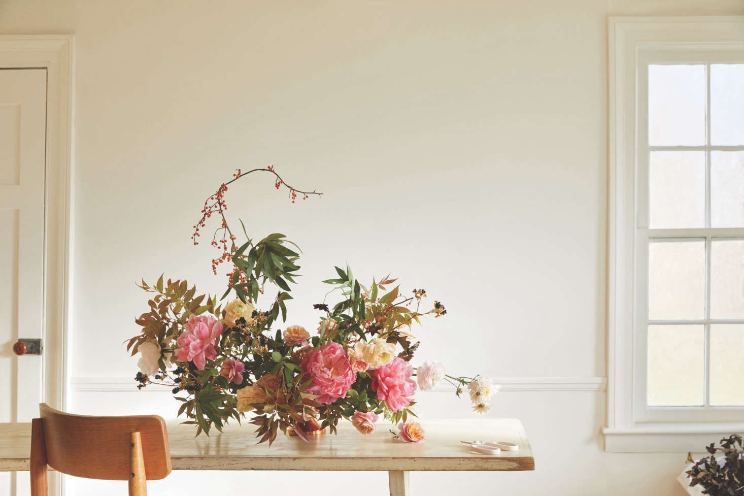 A centerpiece made using Arrangement Workshop components, plus the Floral Society's footed Copper Vase, $62 (scroll down to see the vase on its own).